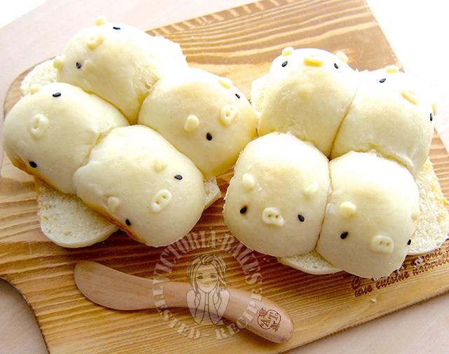 3D piggy milk shokupan (japanese style white sandwich bread) 立体 ...